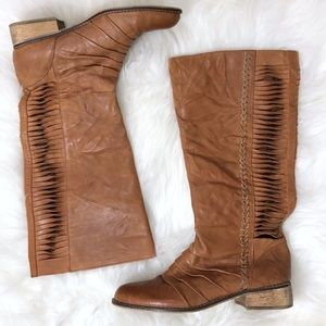 Very Volatile Fringe Taupe Leather Riding Boots